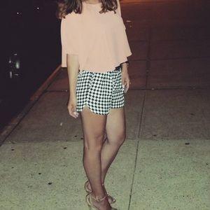 Zara black and white patterned shorts